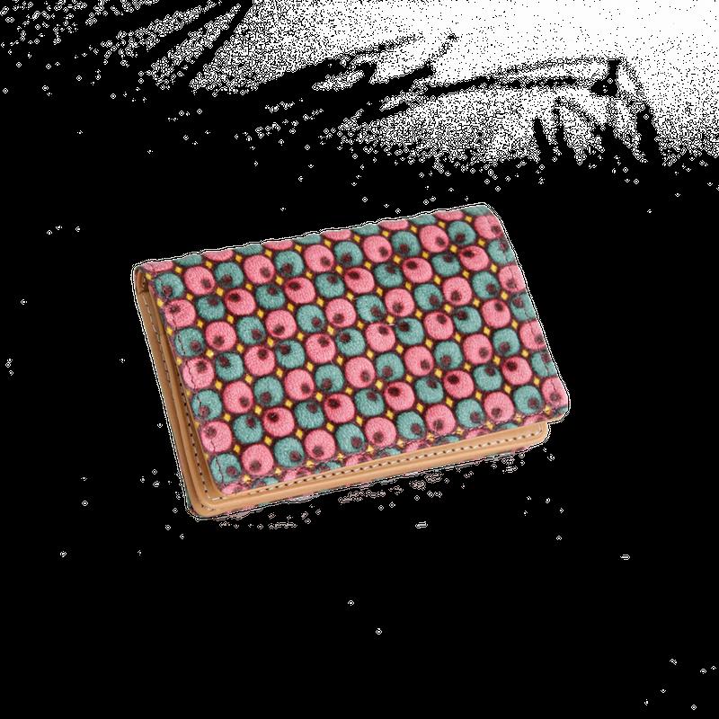 豚革友禅名刺ケース / ぐりぐり柄 / ピンク