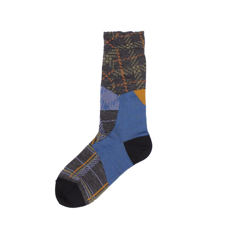 patchwork texture socks/ブラック