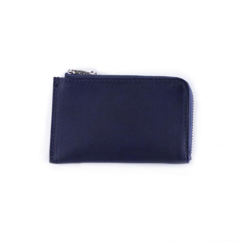 SUKUMO leather zipカードケース/紺藍