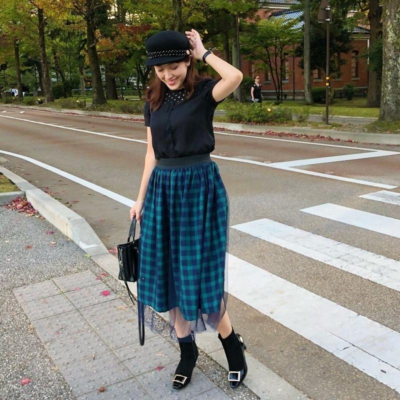 tulle check skirt