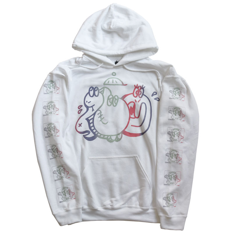 "TARIKI / ""佗力""throw-up 10oz  PULL  HOODIE  WHITE"