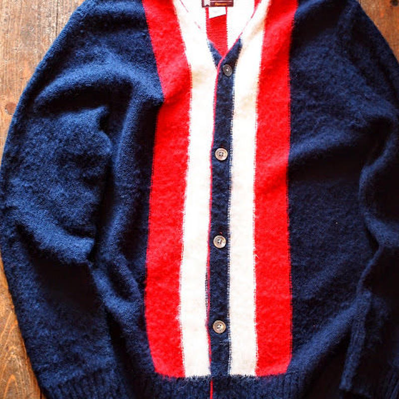 """""""TOWN CRAFT by sunny sports"""" Mohair cardigan(Navy×Red)"""