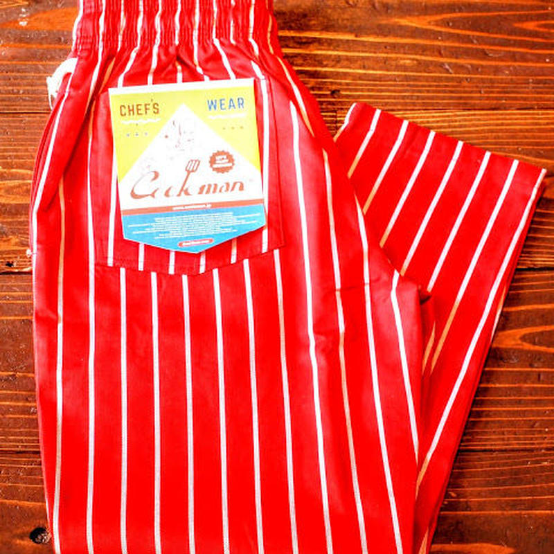 """""""COOKMAN""""Chef Pants 「Pin Stripe」Red"""
