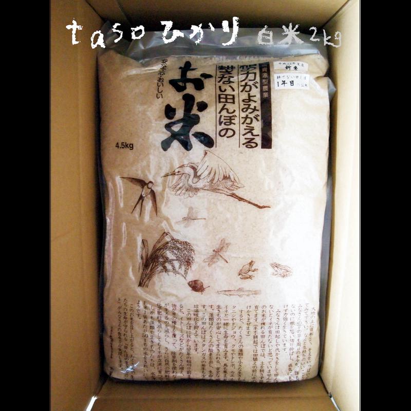 不耕起・無農薬・無化学肥料栽培 tasoひかり(コシヒカリ) 白米4.5kg[ファームガーデンたそがれ] made in 秋田県