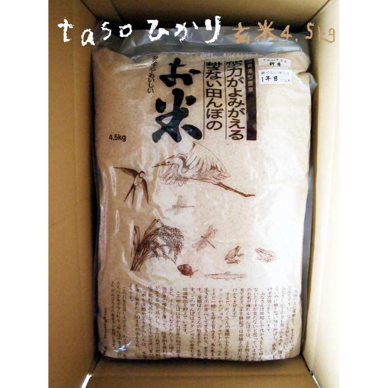 不耕起・無農薬・無化学肥料栽培 tasoひかり(コシヒカリ) 玄米4.5kg[ファームガーデンたそがれ] made in 秋田県