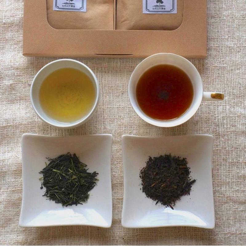 自然栽培(無農薬・無肥料) かぶせ茶・紅茶【ほっとひとときギフトセット】 [加茂自然農園] made in 京都府
