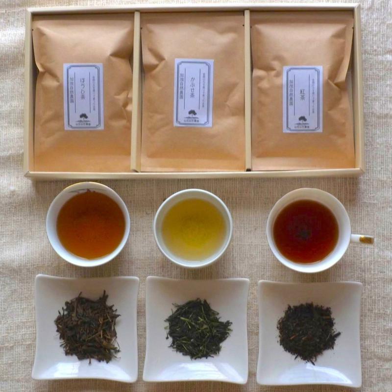 自然栽培(無農薬・無肥料) ほうじ茶・かぶせ茶・紅茶【やすらぎ3種類ギフトセット】 [加茂自然農園] made in 京都府