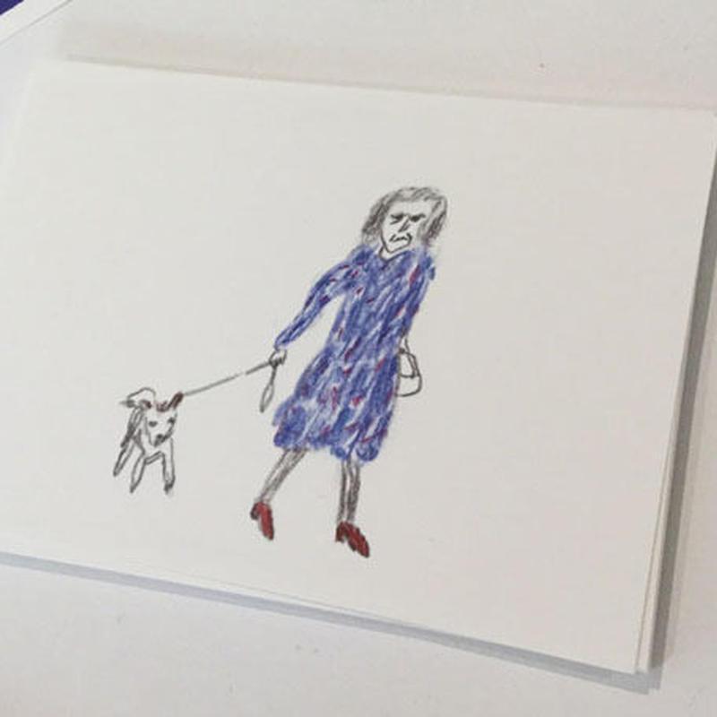 ポストカード 犬の散歩