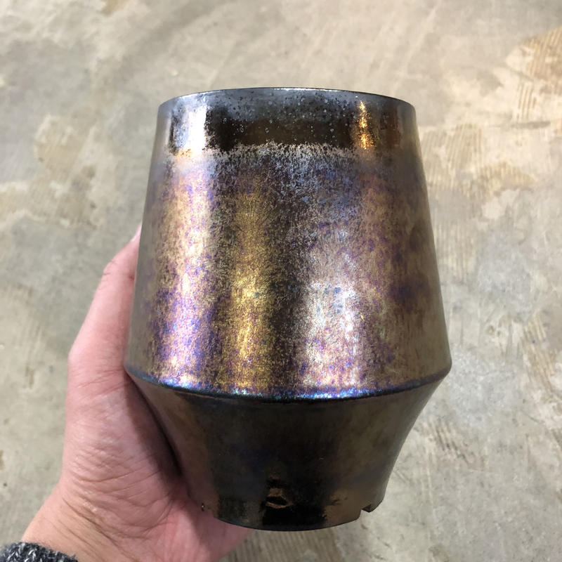 菱形ポット金属釉薬