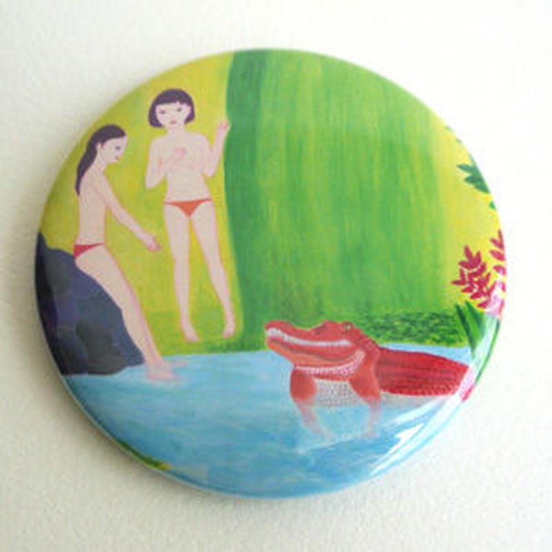 ワニと女の子 缶ミラー(57mm)