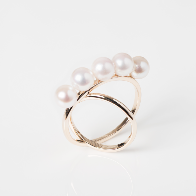 White Pearls Cross Ring