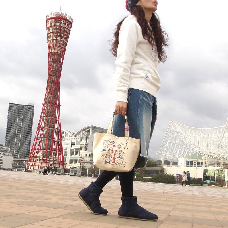 ミニトートバッグ (高島帆布)ナチュラル  (旅するマチルダ:神戸)