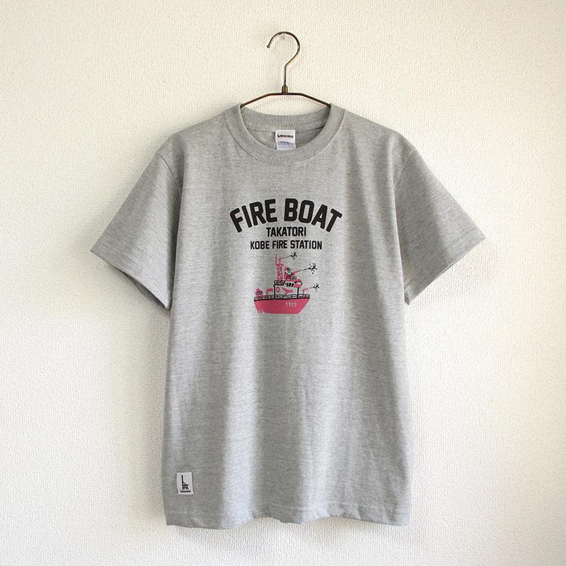 神戸市消防局コラボおとなTシャツ グレー杢 (消防艇たかとり)