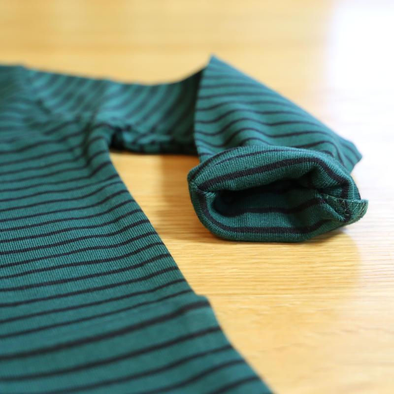 ストレッチハイネックTシャツ ストライプ(グリーン×ブラック) 90cm