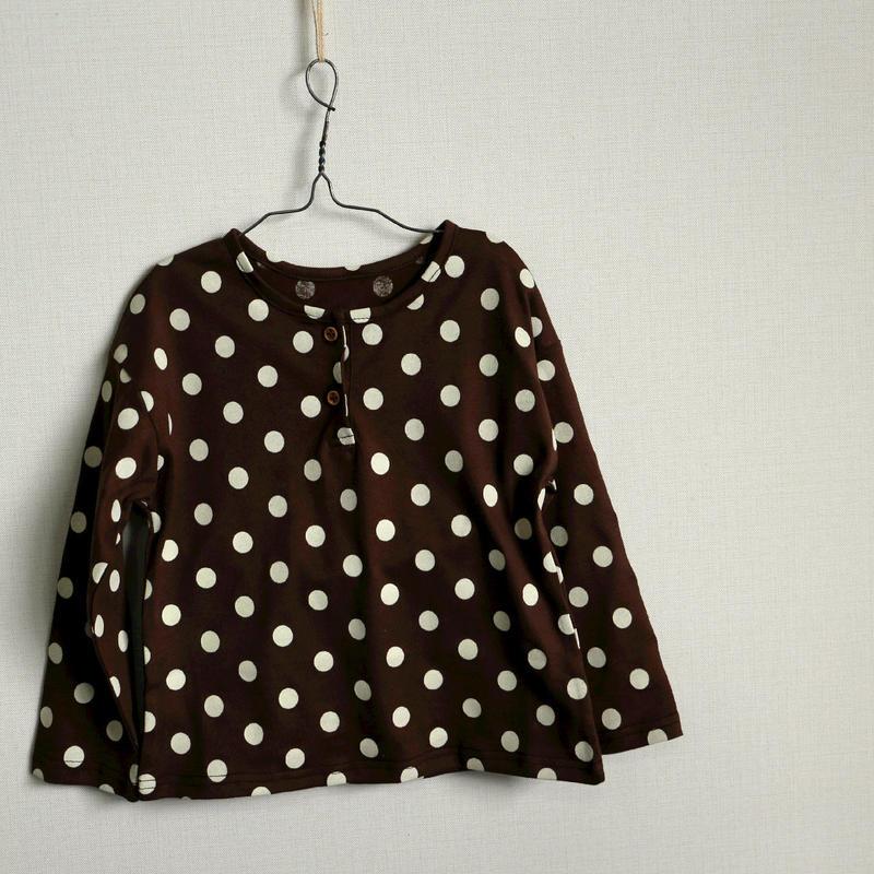 水玉長袖Tシャツ Brown 80cm~120cm
