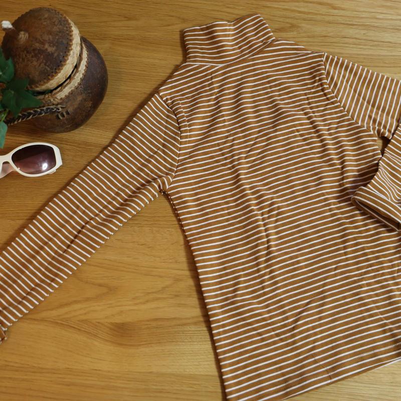 ストレッチハイネックTシャツ ストライプ(イエローブラウン×ホワイト) 100cm/ 120cm/ 130cm