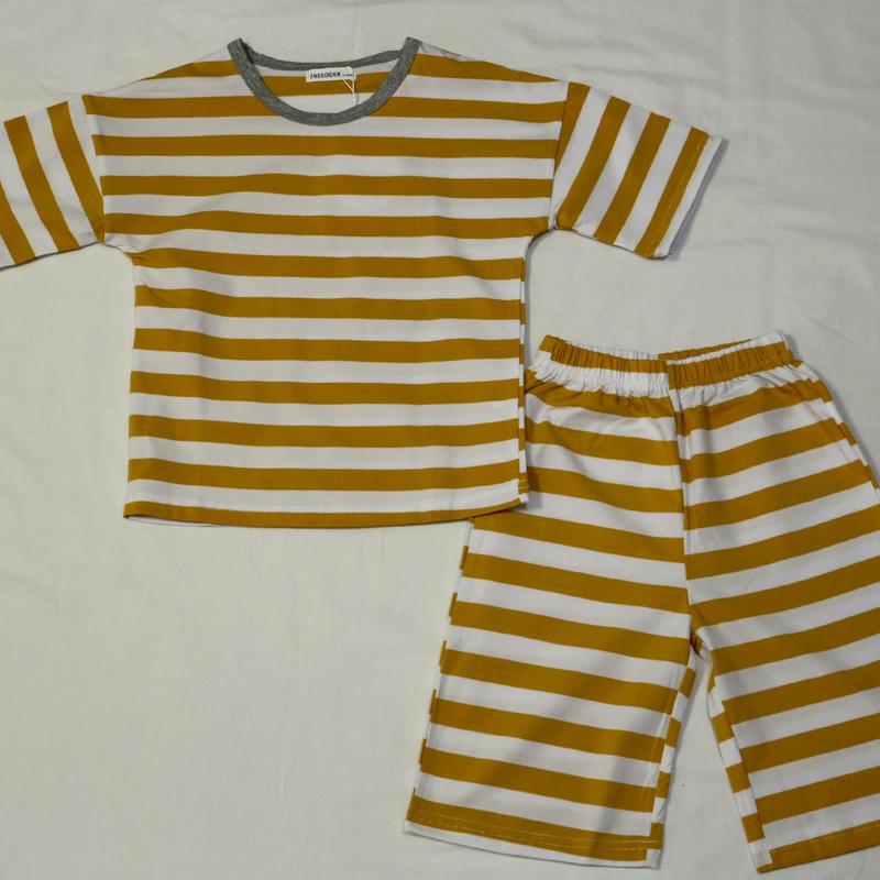 ストライプ半袖パジャマ Mustard 110cm~140cm