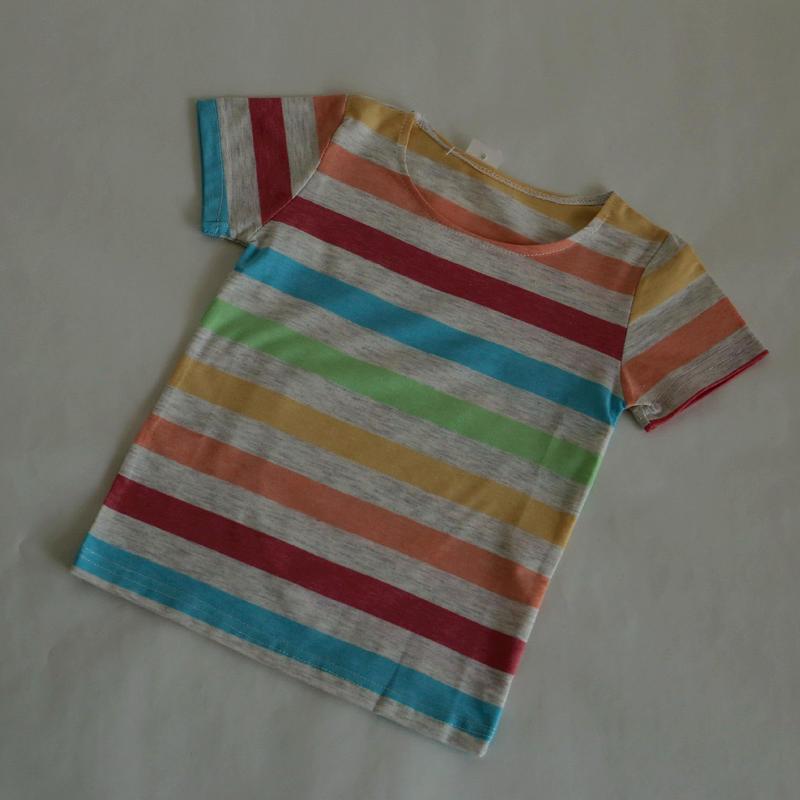 マルチストライプ Tシャツ 襟リブなし 100~120cm