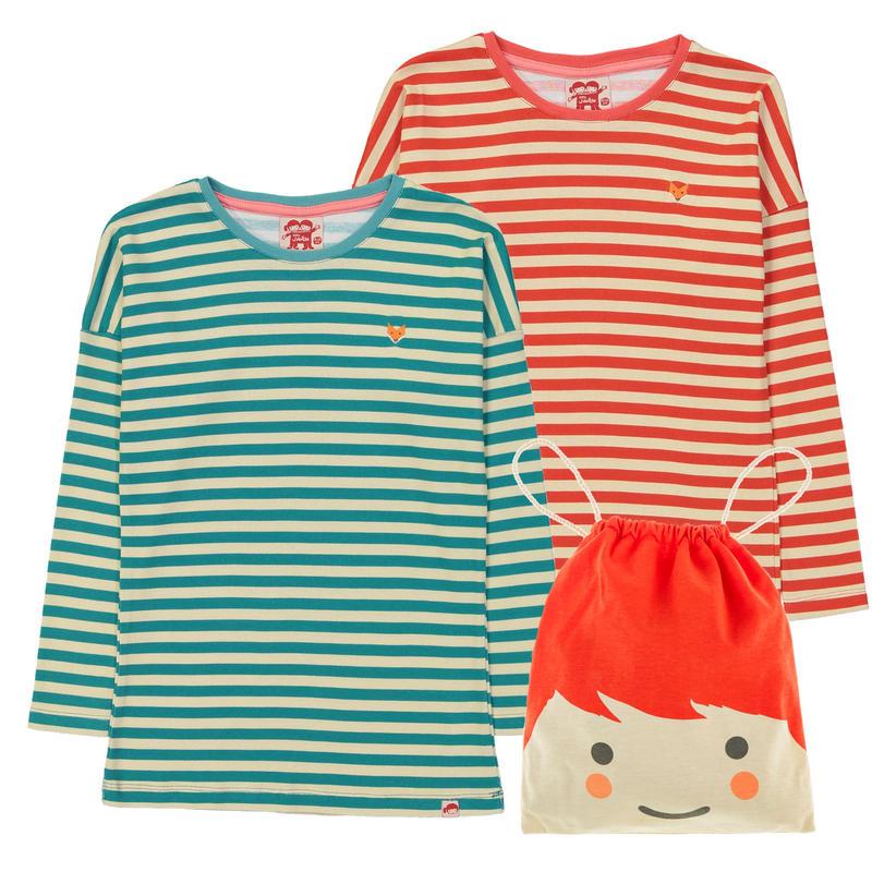 Tootsa Essential Striped T 長袖2枚セット Bright Red & Teal 98cm/ 104cm/ 110cm/ 116cm