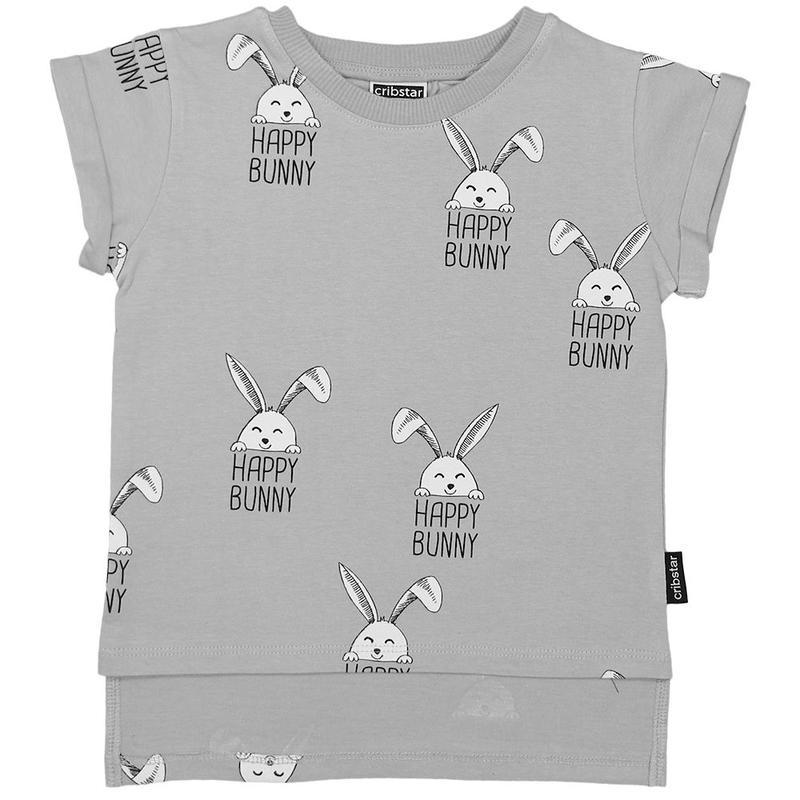 Cribstar Happy Bunny AOP T Grey 92/ 98/ 104/ 110/ 116/ 122/ 128cm