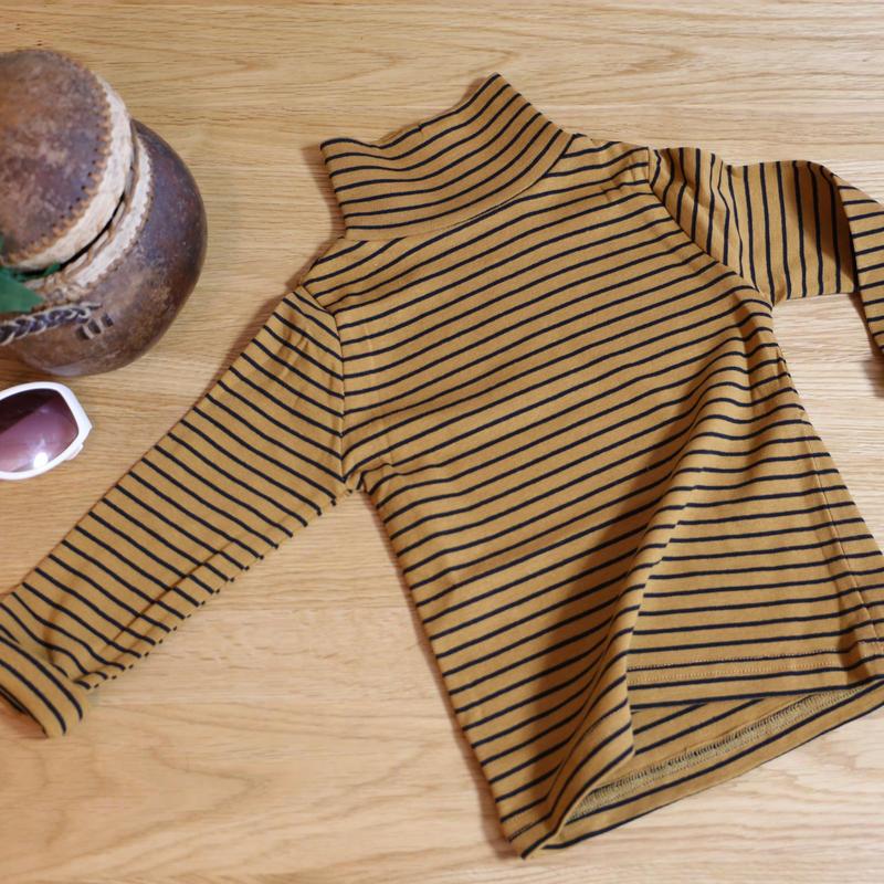 ストレッチハイネックTシャツ ストライプ(イエローブラウン×ブラック)90cm/ 110cm/ 130cm