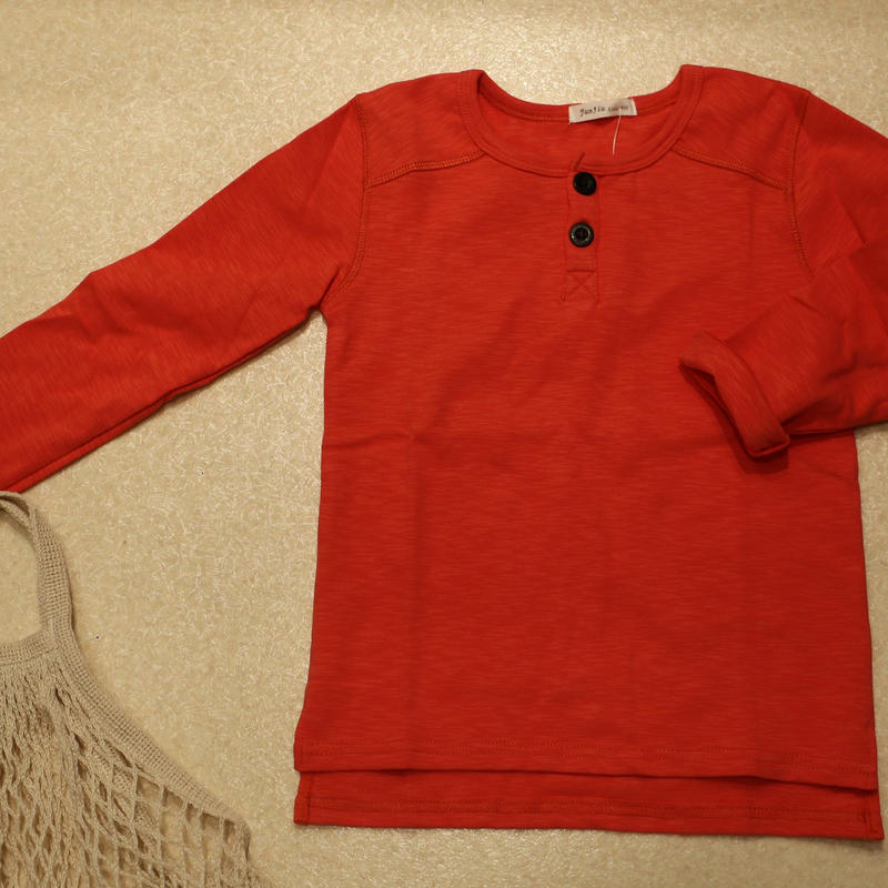 コットン無地ヘンリーTシャツ Orange 110cm/ 130cm