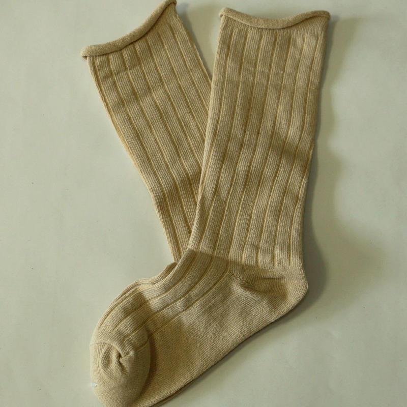 無地Socks Beige 1足 14-18cm/ 18-22cm