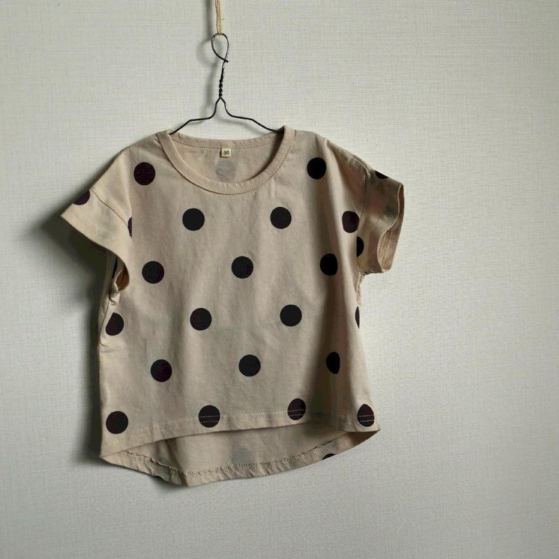 水玉半袖Tシャツ Brown 90cm~130cm
