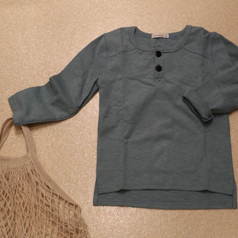 コットン無地ヘンリーTシャツ Smokey Blue 100cm/ 120cm