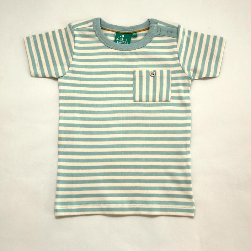 Little Green Radicals Duck Egg Blue Stripe T 98cm/ 104cm/ 110cm/ 116cm/ 122cm