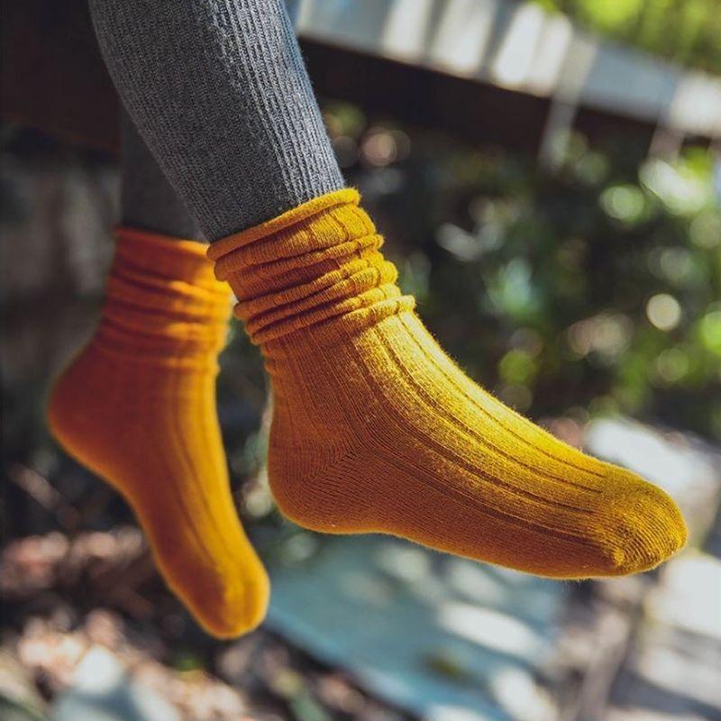 無地Socks Mustard 1足 14-18cm