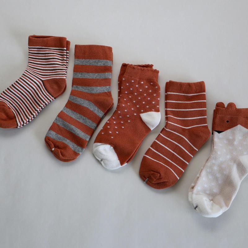 Brown Socks 5足セット 18-22cm
