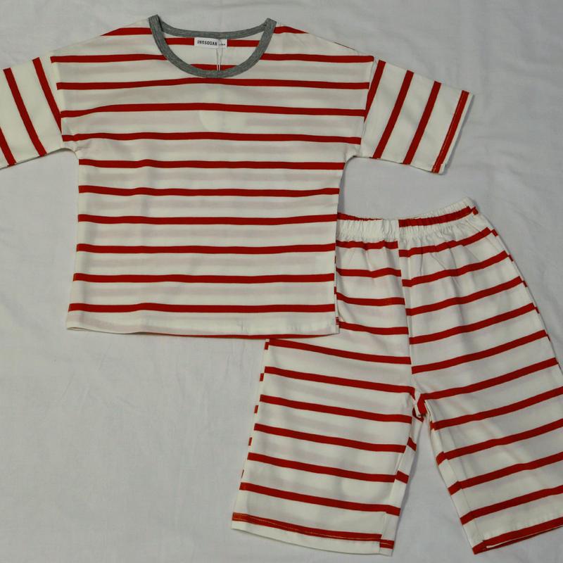 ストライプ半袖パジャマ Red 110cm/ 140cm