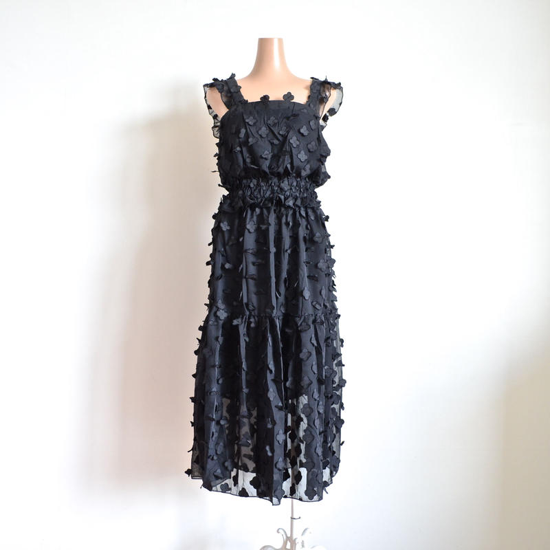 Flower chiffon dress Black    Brigitte Bardot