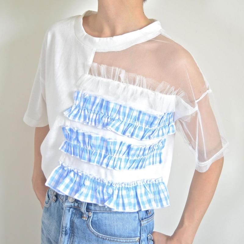 アシンメトリーTシャツ ブルー ブリジットバルドー