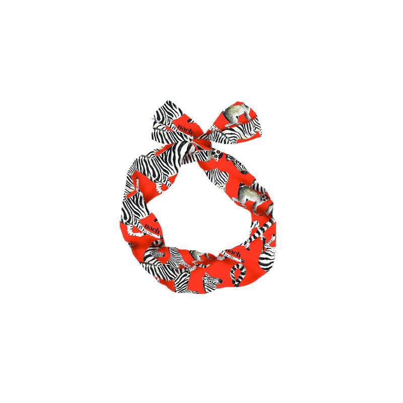 ゼブラ&ワオキツネザル ヘッドバンド red  NACH