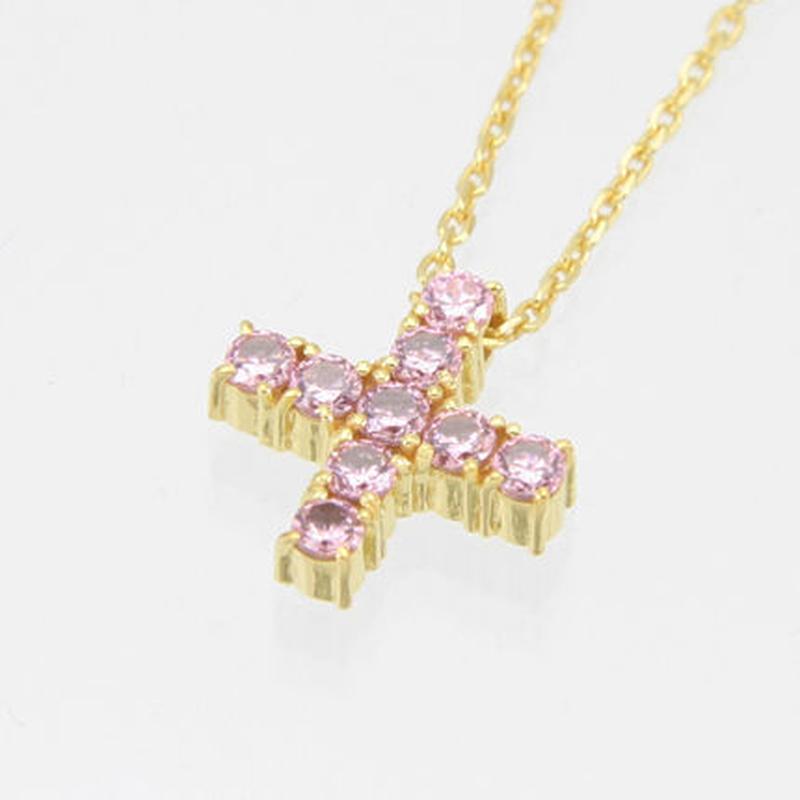 エムジェー[m.J][正規販売店][ネックレス][necklace][MJPN-05GPPCZ]エスポワールクロスネックレス ゴールドプレート w/ピンクCZ