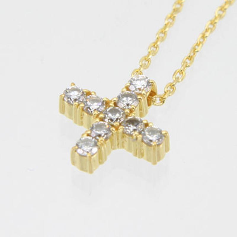 エムジェー[m.J][正規販売店][ネックレス][necklace][MJPN-05GPCZ]エスポワールクロスネックレス ゴールドプレート w/クリアCZ