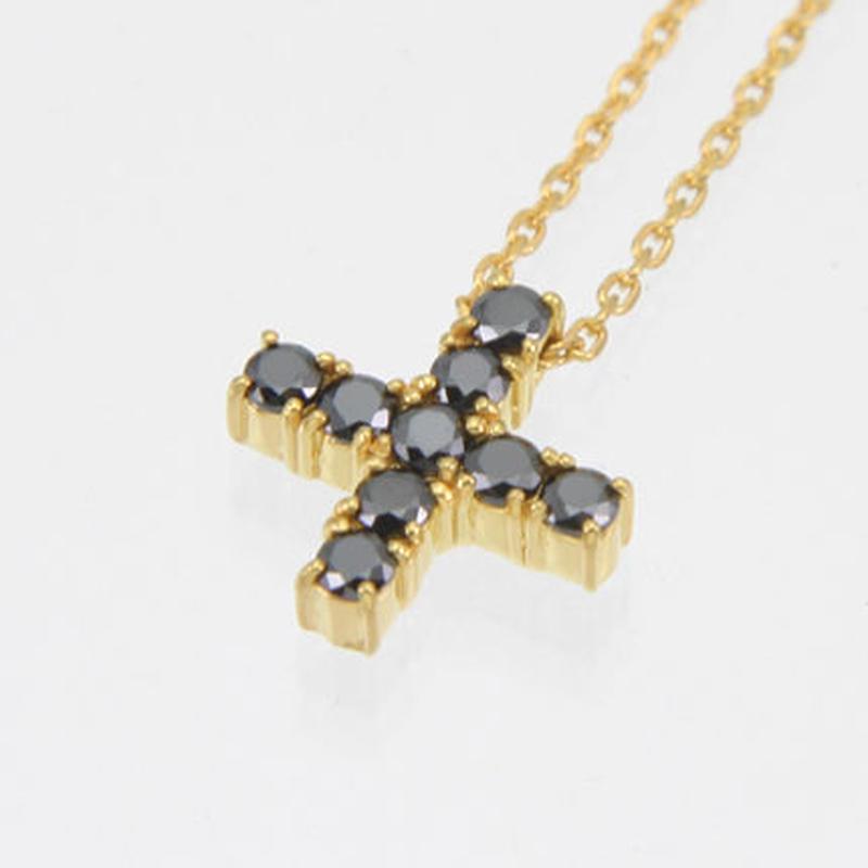 エムジェー[m.J][正規販売店][ネックレス][necklace][MJPN-05GPBCZ]エスポワールクロスネックレス ゴールドプレート w/ブラックCZ