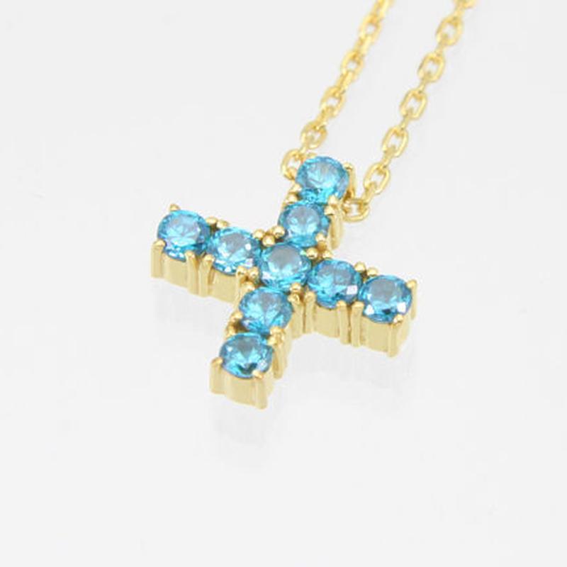 エムジェー[m.J][正規販売店][ネックレス][necklace][MJPN-05GPLBCZ]エスポワールクロスネックレス ゴールドプレート w/ライトブルーCZ
