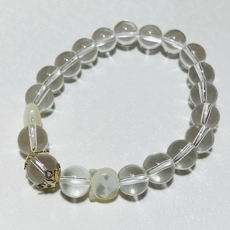 白猫シェル4月誕生石クリスタルブレスレッド【メンズ】