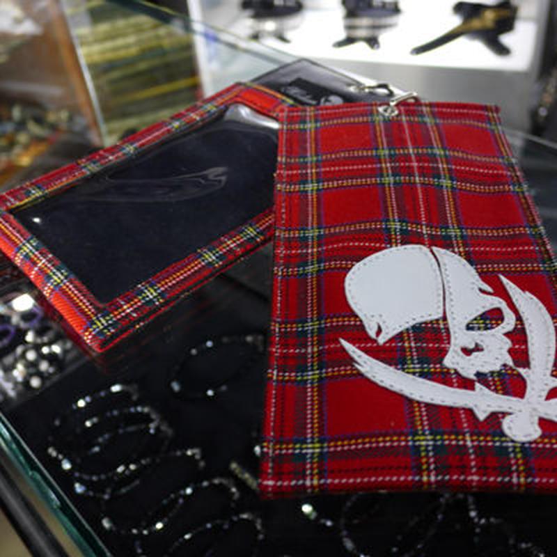 Ticket Holder Cloth×Leather/Sew Pirates Skull