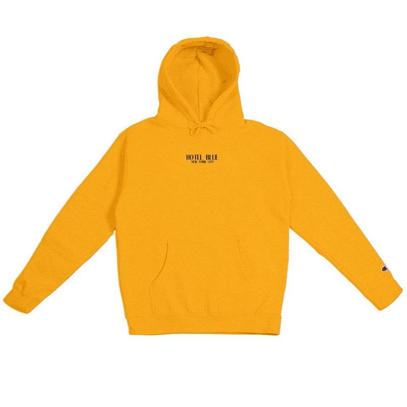 HOTEL BLUE LOGO CHAMPION HOODY (GOLD)