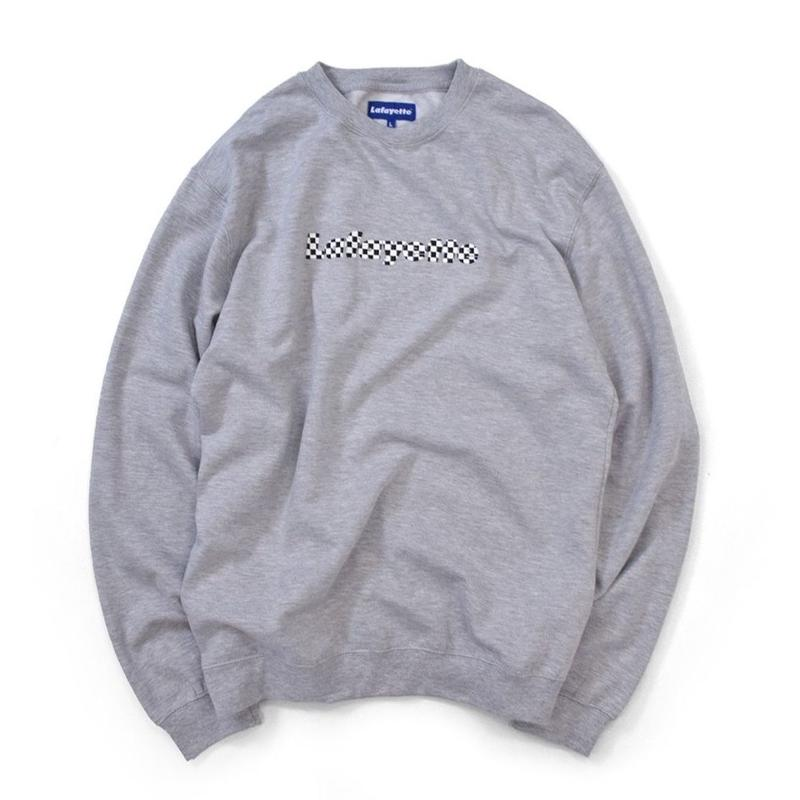 【MOLLY別注】MOLLY CHECKER LOGO CREWNECK SWEATSHIRT Gray