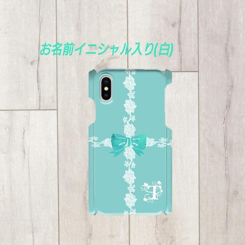 Android/ iphone Plus 白イニシャル入り★ラインレース&リボン柄♡スマフォケース♪♪Android&iPhonePlus/対応