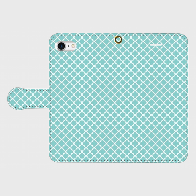 名入れオプション可!手帳型モロッカン柄スマフォケース・ティファニーブルー色