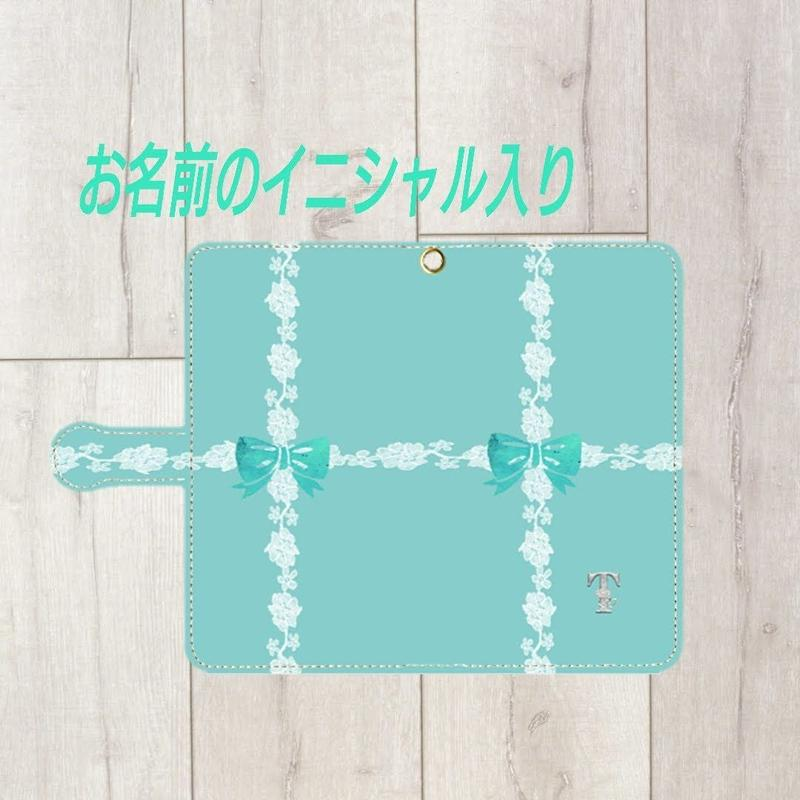 iphone plus&Android L★銀イニシャル入り♡ラインレース&リボン柄・手帳型スマフォケース !