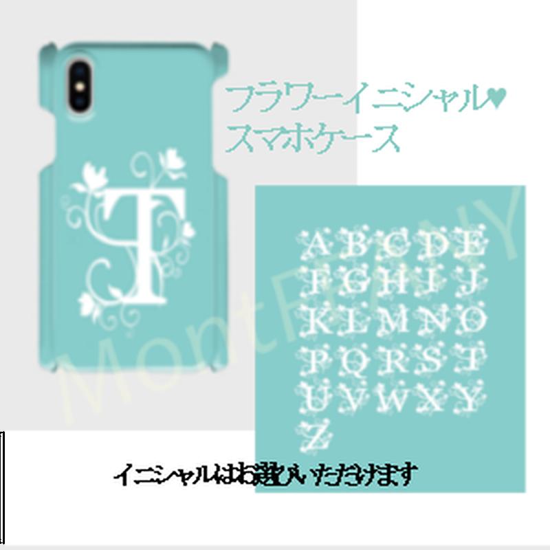 イニシャル入り!Android L/ iphone Plusティファニーブルーのフラワーイニシャル柄♡スマフォケースAndroidL&iPhone 6Plus/6sPlus/7Plus/8Plus