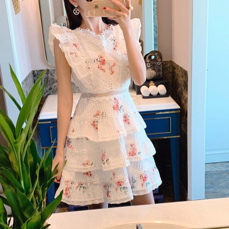 肩フリル花柄ドレスベストワンピース