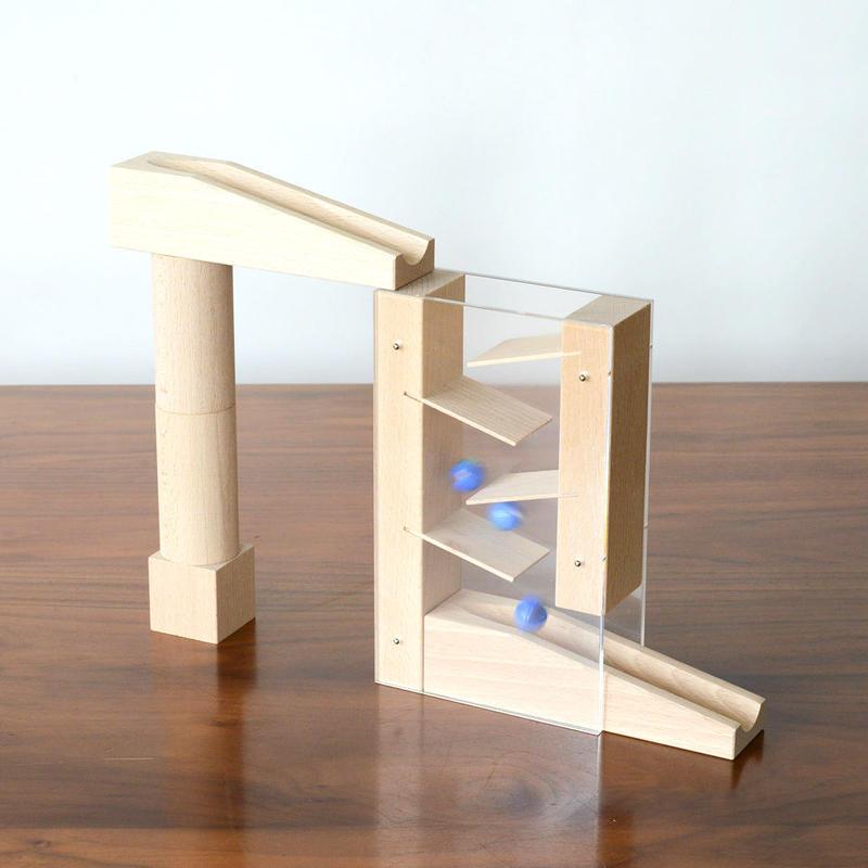 【4才〜】【積木のビー玉転がし・構成玩具】階段セット